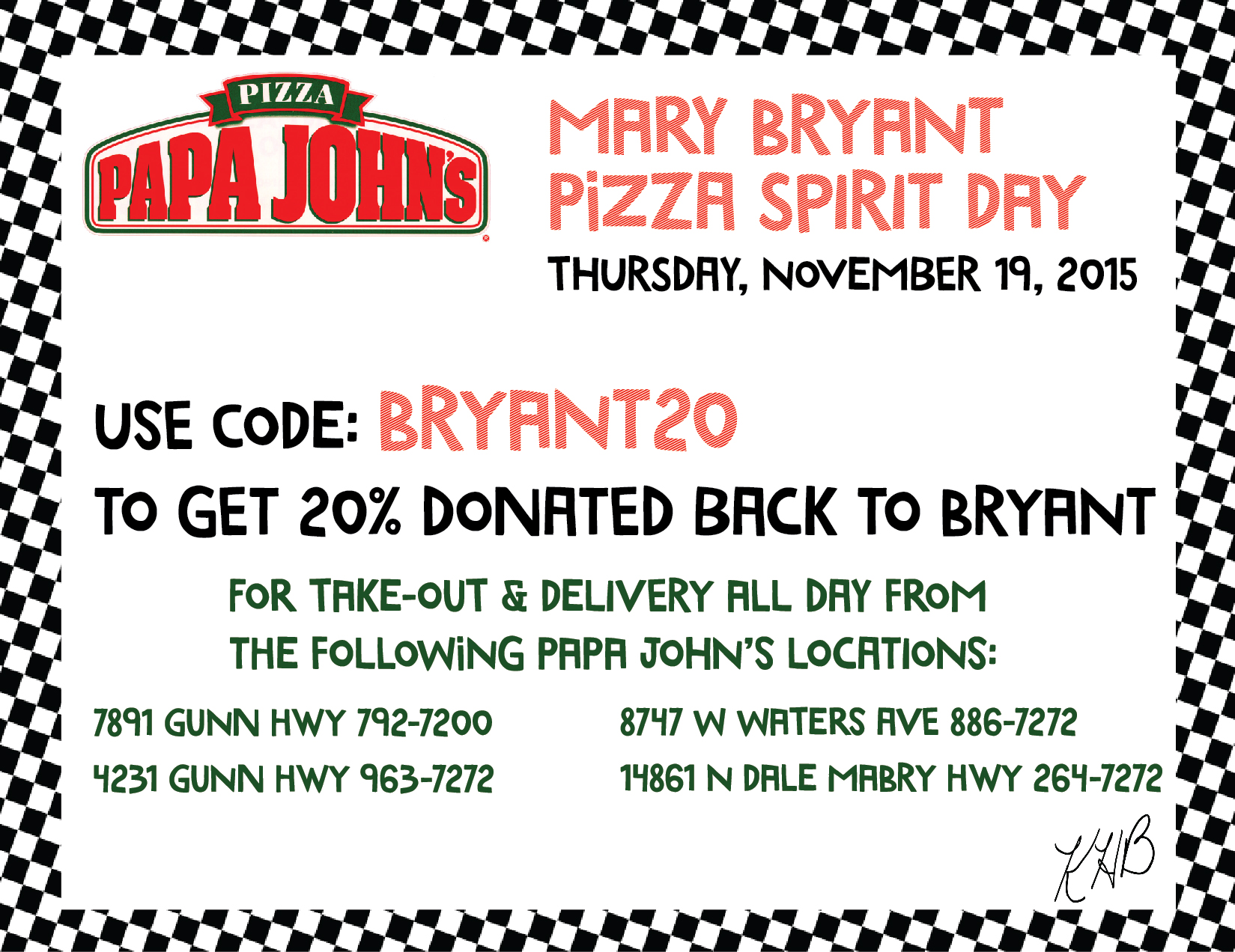 Papa John\'s Spirit Night this Thursday the 19th - Mary Bryant ...
